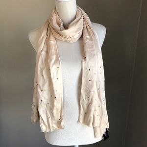 NWT INC Cream Scarf with Multi Colored Gems